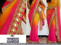 Buy Apparels- Multi Colour Georgette Mirror Work Border Designer Inspired Saree