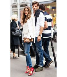 olivia palermo wearing ag ankle jeans + aquazzure lace up heels in #red