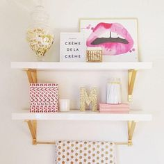 30 Ways to Make Every Room in Your House Prettier - girly pink + gold decorative objects #shelfie