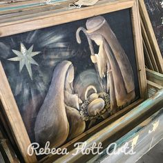 Christmas at the barn original art work from Rebeca Flott Christmas Canvas, Christmas Paintings, Christmas Crafts, Christmas Ornaments, Nativity Church, Vintage Windows, Mini Canvas, Country Style Homes, Outdoor Art