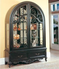 Parker House Palazzo Double Door Collector S Cabinet With Arched Top J Furniture Curio Mobile Daphne Tillmans Corner Alab