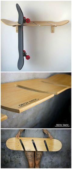 Coole Wandhalterung für Longboards oder Skateboards. Die Halterung besteht selbst aus einem Skateboard-Deck. Geschenk kaufen von Deck Rack via DaWanda.com