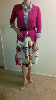S11May13--Fushia cardi (Talbots) over chambray top (Ann*) over floral A-line skirt (Talbots) with faux pearl necklace (Talbots*), brown leather belt (Talbots), ivory enamel and stud bracelet (Talbots), gold tone cuff (LOFT), gold tone stacked rings (Banana) and neutral pumps.