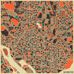 abstract map art Jazzberry Blue