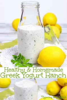 Homemade Healthy Greek Yogurt Ranch Dressing recipe A DIY Clean simple and easy recipe using pantry staples Can be made thicker to use as a dip Tastes amazing use for low. Yogurt Ranch Dressing, Healthy Ranch Dressing, Greek Yogurt Ranch Dip, Homemade Ranch Dressing, Homemade Healthy Salad Dressing, Healthy Salad Dressings, Clean Ranch Dressing, Greek Yogurt Dips, Tahini Dressing