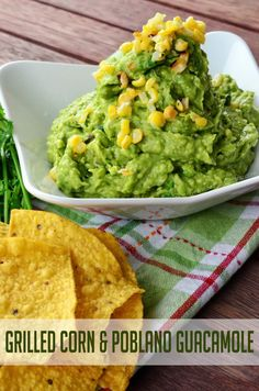 Grilled Corn & Poblano Guacamole from KatiesCucina.com // Celebrate National Guacamole Day on September 16th with this flavorful and smokey #guacamole recipe. #avocado #recipe