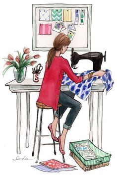 """introducing Dear Stella, a new fabric design company! Dear Stella launched its new website and I helped out with this """"About Page"""" illustration of the Stella gi Do It Yourself Mode, Diy Couture, Art And Illustration, Illustration Fashion, Fashion Illustrations, Sewing Art, Sewing Paterns, Dress Sewing, Fashion Sketches"""