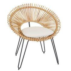 Mid-Century Style Wicker Hoop Chair on Chairish.com