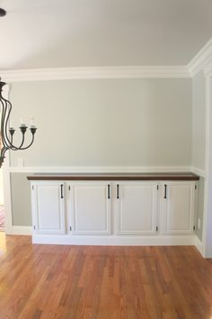 Awesome tuturial on how to reuse old kitchen cabinets and turn them into a dining room side buffet!  www.theluckyhomestead.com