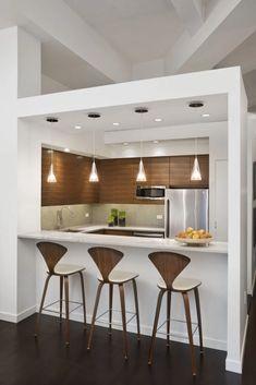 Small Kitchen Bar, Kitchen Bar Design, Small Modern Kitchens, Modern Kitchen Interiors, New Kitchen Designs, Kitchen Layout, Kitchen Decor, Kitchen Modern, Kitchen Ideas