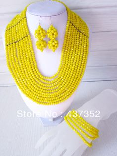 Yellow Marvelous Nigerian Wedding African Beads Jewelry Set Crystal Beads Necklace Bracelet And Clips Earrings CPS-018 $58.63