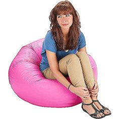 "Pink. 96"" Round Vinyl Matte Bean Bag, Multiple Colors"