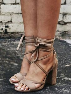 8e1170b9a053 Apricot Gladiator Sandals Plus Size Suede Open Toe Lace Up Sandal Shoes  Women High Heel Sandals