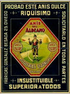 Antigua publicidad de ANÍS EL ALDEANO, fabricado en Oviedo, en la calle González Besada 25, por la empresa Destilerías Gijonesas