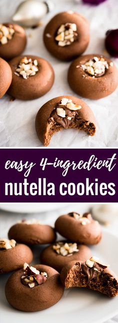 These 4-ingredient NUTELLA COOKIES are a must-make cookie this holiday season!