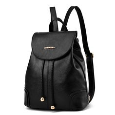 2017 High Quality Girls School Bags Solid Color PU Leather Backpack New Big  Mochila Women Bag Students Book Travel Shoulder Bag 5ff17eb9b2c72