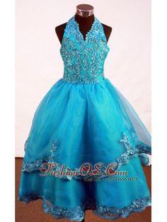Popular Appliques Decorate Bodice A-line Halter Floor-length Little Girl Dress