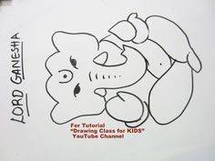 Newest Screen ganpati drawing for kids Style Supply boys and girls twenty pieces of cardstock including a common box connected with colors, plus there is a high pro Drawing Classes For Kids, Flower Drawing For Kids, Drawing Tutorials For Kids, Easy Drawings For Kids, Pencil Drawing Tutorials, Pencil Drawings, Art Drawings, Ganpati Drawing, Ganesha Drawing