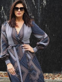 Wrap Dress, Dresses With Sleeves, Long Sleeve, Fashion, Moda, Sleeve Dresses, Long Dress Patterns, Fashion Styles, Gowns With Sleeves