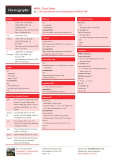 HAML Cheat Sheet by specialbrand - Cheatography.com: Cheat Sheets For Every Occasion