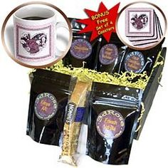 ($44.99) Jaclinart Rose Heart Garden Nature Florals Flowers Damask - Plum purple heart rose surrounded by lilac purple damask and tile frames - Coffee Gift Baskets - Coffee Gift Basket From 3dRose LLC