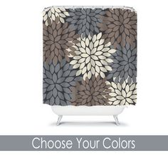 Monogram Shower Curtain Custom Personalized TRM Design gray-brown-ivory
