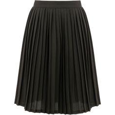Midi Length Pleated Skirt ($48) ❤ liked on Polyvore featuring skirts, ski skirt, knee length pleated skirt, midi skirt, below knee skirts and mid calf skirts