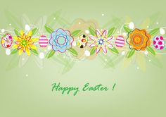 Sweet easter card design with green background and different color eggs and flower elements. Free vector graphic for download in Ai format and A4 jpg preview