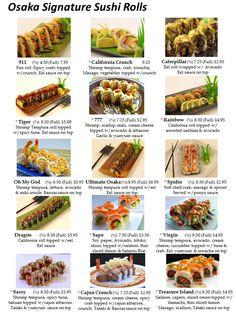 Osaka Sushi Menu Las Vegas