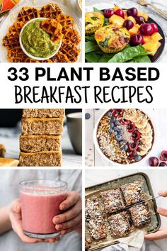 33 delicious plant based breakfast recipes with whole food plant protein sources. Great resource for beginners with easy recipes for healthy ideas on the go. Great for kids and adults with low carb and other choices like smoothies, oatmeal, breakfast bar Plant Based Diet Meals, Plant Based Snacks, Plant Based Whole Foods, Plant Based Eating, Plant Based Recipes, Easy Meals For Kids, Kids Meals, Plant Based Breakfast, Breakfast Bars