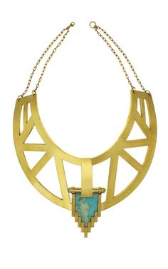 LUSTING over this collection - Pamela Love really stepped it up with her Fall 2012 set.  Large Empire Collar in brass with turquoise detail $1650
