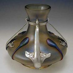 Loetz Art Nouveau Irridescent Glass Vase with Pewter Mount