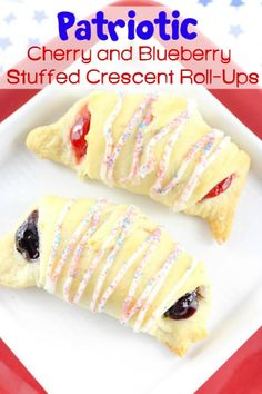 Patriotic Cherry and Blueberry Stuffed Crescent Roll-Ups!