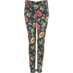 Tall MOTO Chintz Floral Leigh Jeans ($90) ❤ liked on Polyvore featuring jeans, pants, bottoms, calças, flower print jeans, floral jeans, tall jeans, topshop jeans and floral printed jeans