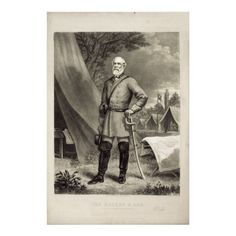 Confederate General Robert E. Lee Portrait Print Photograhed by Mathew Brady Engraved by J.C. McRae by zazzle.com/sovereigns*