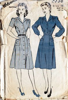 this is the pattern/pic that has inspired our new 40s shirt waister dress - being sampled now. Love the yoke ad gathers at the shoulder and tucks into waist seam.