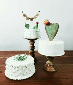 Casual elegance of these prickly wedding cakes lived as breathless. A fabulous cactus accents add texture and visual interest to these white cakes. Pretty Cakes, Cute Cakes, Beautiful Cakes, Amazing Cakes, Cactus Cake, Cactus Cupcakes, Cactus Wedding, Happy Birthday, Birthday Parties