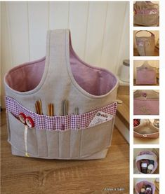 ideas knitting bag sewing crochet for 2019 Sewing Hacks, Sewing Tutorials, Sewing Crafts, Sewing Projects, Diy Crafts, Patchwork Bags, Quilted Bag, Yarn Bag, Sewing Baskets