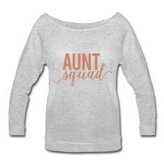 PINK GLITZ PRINT! Aunt Squad, Preganancy Reveal Women's Wideneck Shirt