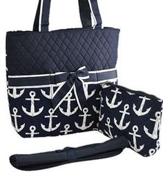 Monogrammed Diaper Bag Monogram Personalized Navy White On Anchor Bags Purse By Sewsassybootique Etsy