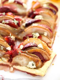 Pear and Plum Puff PastryTart with Blue Cheese ,
