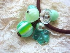 Hair Elastic Mint Green Color Candy Beads by KanaBeadsGarden, $9.00