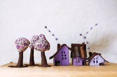Violet Cabins with trees. Miniature. by Intres on Etsy, $35.00
