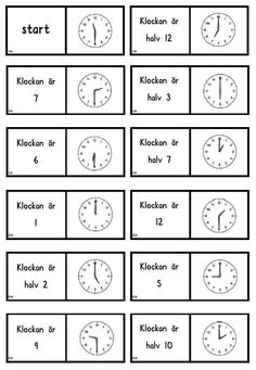 Klockdomino Math Activities For Kids, Math For Kids, Teaching Career, Teaching Math, Maths, Math Clock, Learn Swedish, Learn To Tell Time, Swedish Language