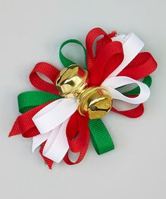 Love this Red & Green Jingle Bell Clip on #zulily! #zulilyfinds