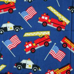 Quilting Cotton Print Fabric, Marcus Brothers Textiles, Police Car, Fire Truck, US Flags, Dark Blue, 1-2/3 yards, 8-oz, B4 by DartingDogFabric on Etsy