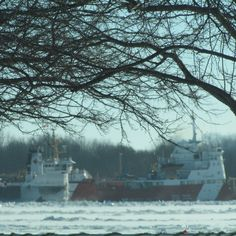 The H. Lee White stuck in the ice on the St. Clair River in Algonac, Michigan (Jan 2015) being assisted by two Canadian Coast Guards. The Sameul Risley coming up on the side of the freigher and the Griffon out front breaking up the ice
