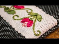 Silk Ribbon Embroidery Rose Stitches along with Silk Ribbon Embroidery Tutorials Ribbon Embroidery Tutorial, Simple Embroidery, Rose Embroidery, Hand Embroidery Stitches, Silk Ribbon Embroidery, Cross Stitch Embroidery, Embroidery Patterns, Eyeliner Embroidery, Knitting Stitches