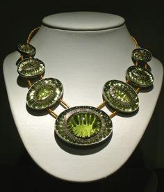 """Kiwi Necklace"" julie anne mihalisin  Sterling Silver, 18k gold, kiln slumped glass"