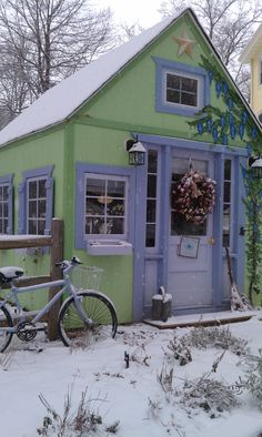 The front of Lavender Nest Cottage in the snow